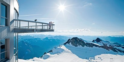 View over 3000m high mountains of the view point on the glacier | © Gletscherbahnen Kaprun AG