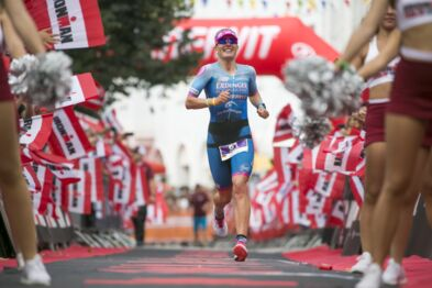 Finish Daniela Bleymehl - 1st Woman Ironman 70.3 | © Getty Images
